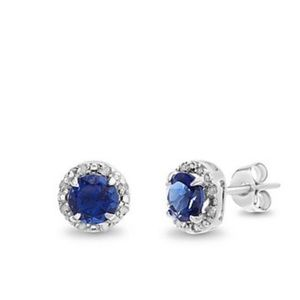 Sterling Silver Blue Sapphire & Diamond Earrings
